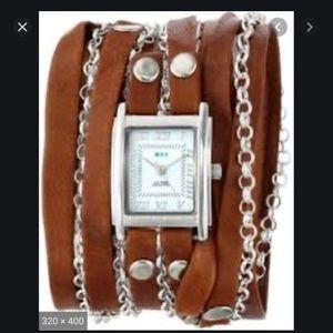 La Mer Boho Leather Gold Chain Wrap Bracelet Watch